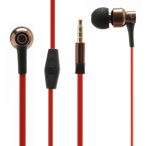 JBM-MJ8600 3.5mm Noodle Earphone Headphone with Mic for iPhone iPad Samsung HTC LG Nokia - Red / Coffee