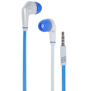Langston JD88 3.5mm Flat Cable In-ear Stereo Earphone w/ Mic for iPhone Samsung HTC - Blue