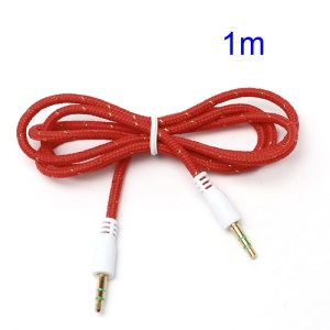 Woven 3.5mm Male to Male M/M Stereo Audio Cable for PC iPhone MP3 MP4 - Red