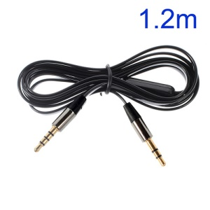 Black 3.5mm Male to Male 1.2m Flat Auxiliary Cables w/ Mic, Supports iPhone, iPad, Samsung, HTC etc