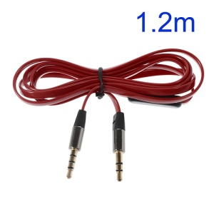Red 3.5mm Male to Male 1.2m Flat Auxiliary Cables w/ Mic, Supports iPhone, iPad, Samsung, HTC etc