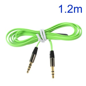 Green 3.5mm Male to Male 1.2m Flat Auxiliary Audio Cables w/ Mic, Supports iPhone, iPad, Samsung, HTC etc