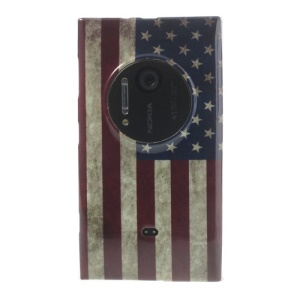 Retro US Flag IMD TPU Back Case for Nokia Lumia 1020