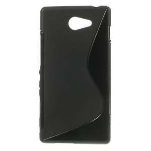 Black S Shape Gel TPU Case for Sony Xperia M2 D2303 / M2 Dual D2302 / M2 Aqua