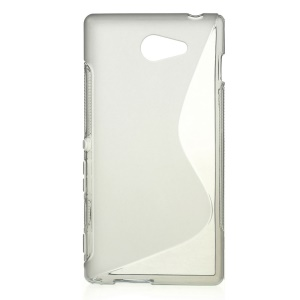 Grey S Shape Gel TPU Case for Sony Xperia M2 D2303 / M2 Dual D2302 / M2 Aqua
