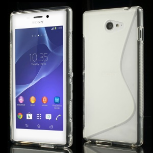 Transparent S Shape TPU Back Shell for Sony Xperia M2 D2306 / M2 Dual D2302 / M2 Aqua
