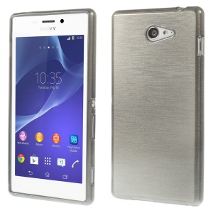 Brushed TPU Case Cover for Sony Xperia M2 D2303 / M2 Dual D2302 - Grey