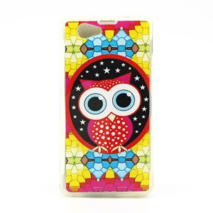 Glossy IMD TPU Case for Sony Xperia Z1 Compact D5503 - Cute Owl under the Stars