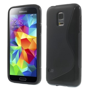 S Shape TPU Case Cover for Samsung Galaxy S5 mini G800 - Black