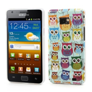 Mutiple Owls IMD TPU Case Cover for Samsung i9100 Galaxy S 2 / II - Cyan Background