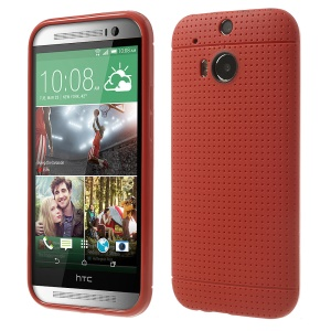 Red Concave Dots Design Flexible TPU Cover for HTC One M8