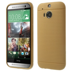 Champagne Gold for HTC One M8 Concave Dots Design Flexible TPU Shell