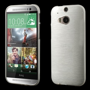 White Glossy Outer Brushed Inner TPU Gel Case for HTC One M8