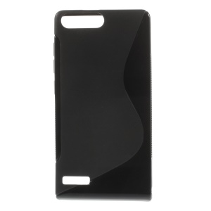 S-Curve Line TPU Gel Case Shell for Huawei Ascend P7 Mini - Black