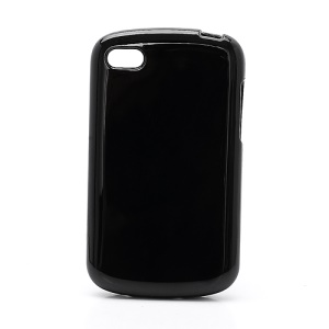 Solid Glossy TPU Case Cover for BlackBerry Q10 - Black
