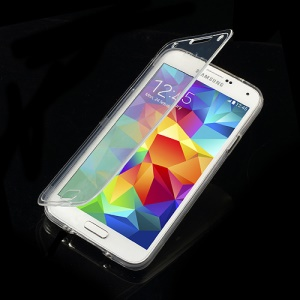 Folio Style TPU Gel Protective Case for Samsung Galaxy S5 G900 - Transparent