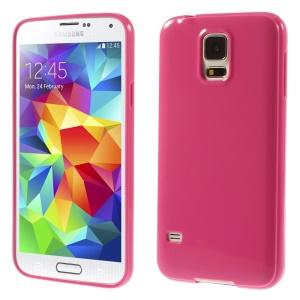 Solid Color Glossy Soft TPU Shell for Samsung Galaxy S5 G900 / S5 Neo - Rose