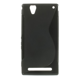 Black S-Curve Line TPU Back Case for Sony Xperia T2 Ultra D5303 / Ultra dual D5322
