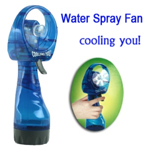Hand-held Water Spray Cooling Fan for Sporting Travelling (with Free Screwdriver);Blue