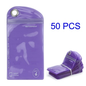 50PCS/Pack Plastic Zip-lock Packaging Bag with Hang Hole for iPhone 5 For Samsung i9300 Cases, Size: 16 x 9.5cm - Purple
