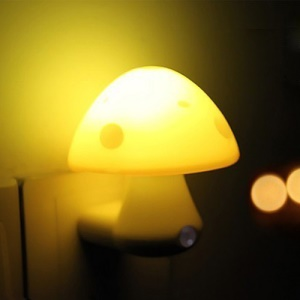 Light Control Mushroom Lamp Energy Saving LED Wall Night Bulb 220V 0.2W