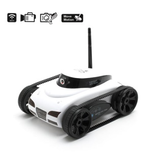 App Controlled Wi-Fi Wireless R/C Tank Toy Live Camera for iPhone 4 4S 5 / iPad - White (777-287)