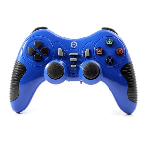 JITE CX-506 2.4G Wireless USB PC Controller Game Pad Joystick Dual Shock for Sony PS2 PS3 - Blue