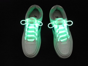 Green Fashion Glowing LED Light Up Shoelaces Third Gen Olive Shaped