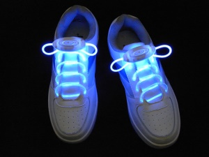 Blue Fashion Glowing LED Light Up Shoelaces Third Gen Olive Shaped