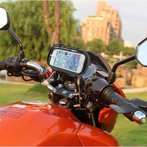 360 Degree Rotation Motorcycle Rearview Mirror Holder w/ Waterproof Phone Case, Size: 14.5 x 7.5cm