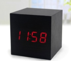 Cube LED Light Voice Control Wooden Clock with Alarm - Brown