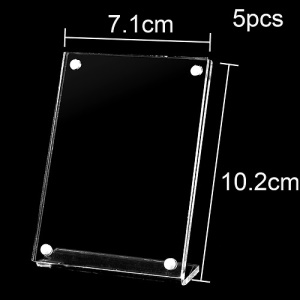 5Pcs/Pack Clear Acrylic Magnetic Closure Holder for Card Sign Menu Photo Display, Size: 7.1 x 10.2cm