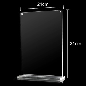 Clear Acrylic Magnetic Closure Card Menu Photo Vertical Display Holder Stand, Size: 21 x 31cm