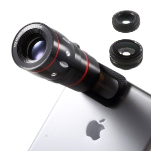 Universal Clip 4 in 1 10X Telephone Lens + Fish Eye Lens + Wide-angle & Macro Lens Kit for iPhone iPad Samsung LG Etc - Black