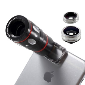 Universal Clip 4 in 1 10X Telephone Lens + Fish Eye Lens + Wide-angle & Macro Lens Kit for iPhone iPad Samsung LG Etc - Silver