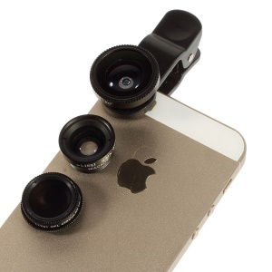 4 in 1 LieQi LQ-008 Universal Clip + Circular Filter Lens + Fish Eye Lens + Wide-angle & Macro Lens Kit for iPhone iPad Samsung LG - Black