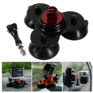 Black Low Angle Car Triangle Suction Cup Mount Adapter w/ Screw for Gopro Hero 2 3 3+