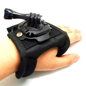 360 Degree Glove-style Velcro Wristband Hand Palm Strap Mount Adapter w/ Screw for Gopro Hero 3+ 3 2 1