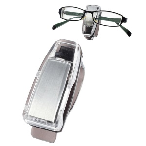 Car Visor Glasses Clip Sunglasses Ticket Holder - Silver Color