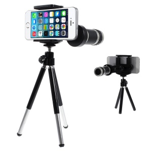8X Zoom Mobile Phone Telescope Camera Lens + Mini Tripod + Adjustable Holder