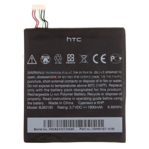 For HTC One X S720e Internal Battery Spare Parts OEM BJ83100 35H00187-01M 1800mAh