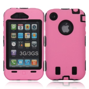 For iPhone 3G 3GS Defender Silicone + PC Combo Case - Black / Pink