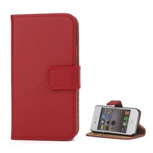 Genuine Split Leather Magnetic Folio Wallet Stand Case for iPhone 4 4S - Red