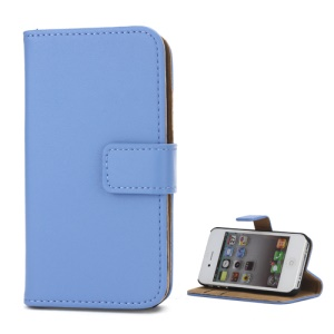 Genuine Split Leather Magnetic Folio Wallet Stand Case for iPhone 4 4S - Blue