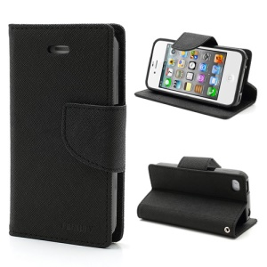 Mercury Fancy Diary PU Leather Wallet Flip Case for iPhone 4 4S - Black
