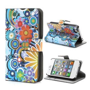iPhone 4 4S Credit Card Wallet Leather Case with Stand Colorful Flowers Pattern