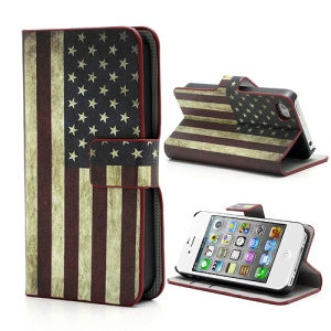 Retro USA American National Flag Card Slot Leather Stand Cover for iPhone 4 4S