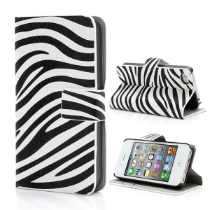 Modish Zebra Stripe Pattern Leather Case Cover w/ Card Slots & Stand for iPhone 4 4S