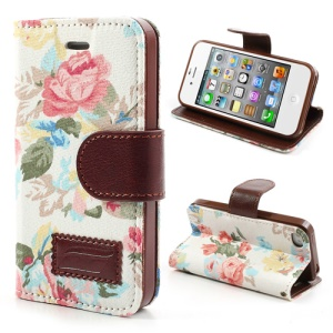 Vivid Flowers Cloth Leather Magnetic Wallet Stand Case for iPhone 4 4S - White