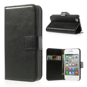 Black Crazy Horse Wallet Leather Case Stand for iPhone 4 4s
